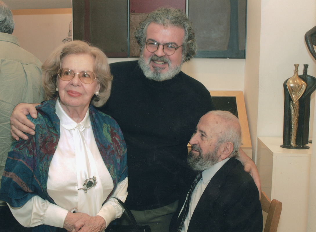 2002. Ion Frantzeskakis with members of the Academy of Athens master painter Panayiotis Tetsis (1925-2016) (left) and Prof. of History of Art Chrysanthos Christou (1922-2016) (center).