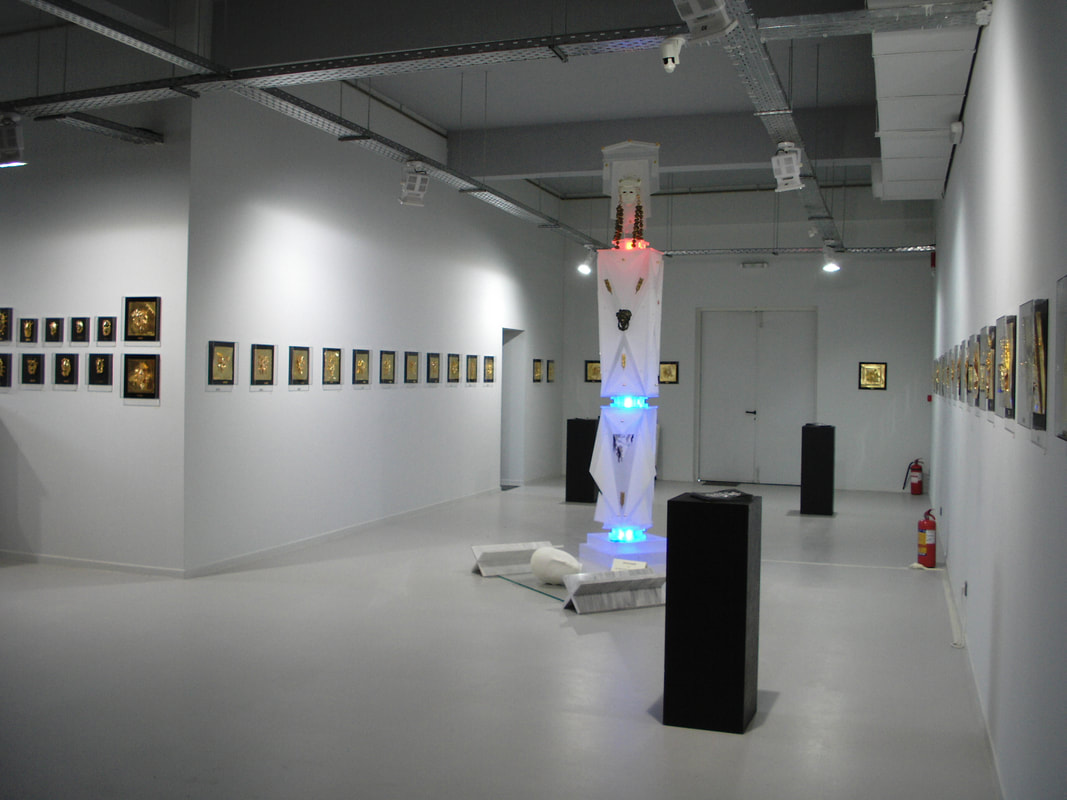 Installation view from the Ioannis Bardis exhibition at Galerie Zygos, at Ellinikos Kosmos. At the centerpiece, the