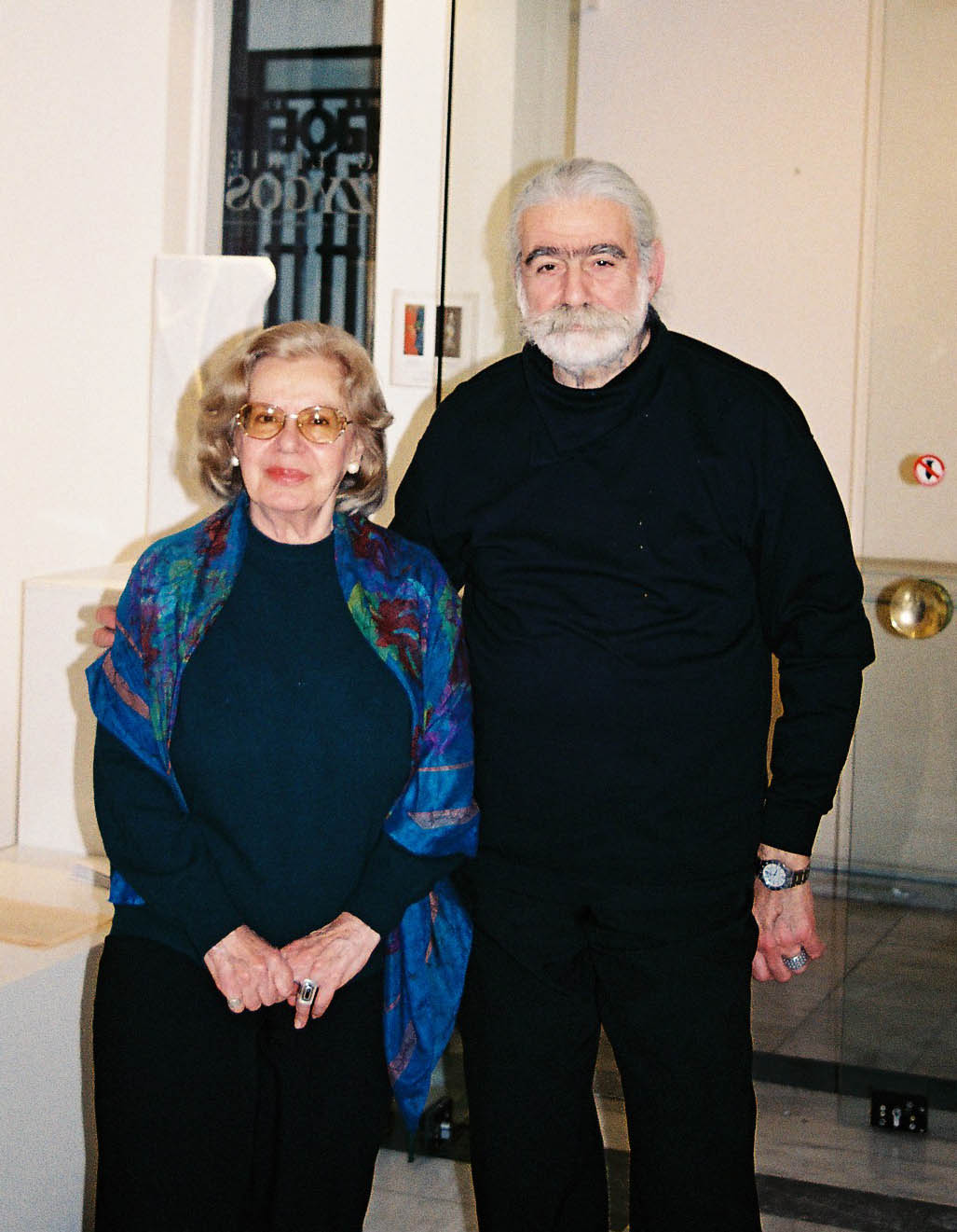 Catherine Frantzeskakis, co-founder of Galerie Zygos, with artist Carlos Cambelopoulos at Galerie Zygos, Nikis Street, 2003.