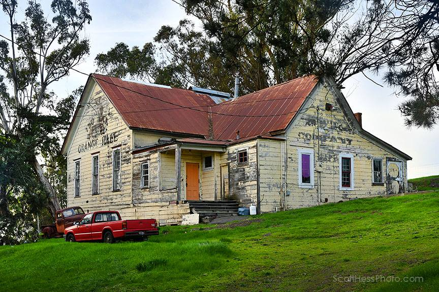 Two Rock Grange Hall (1870), Petaluma, the house where Peter Forakis lived for several years, and where I met him. Photo: Scott Hess.