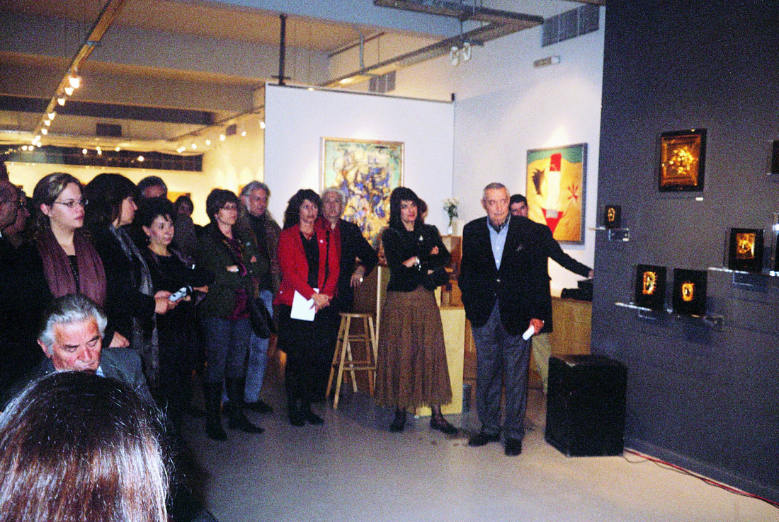 Collector Ion Vorres at the opening of the Ioannis Bardis exhibition at Galerie Zygos.