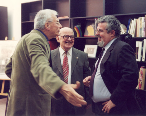 2002. Ion Frantzeskakis with members of the Athens Academy master painter Panayiotis Tetsis (1925-2016) (left) and Prof. of History of Art Chrysanthos Christou (1922-2016) (center).